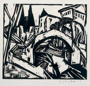 Ernst Ludwig Kirchner Elisabeth-Ufer (Berlin), 1912. Woodcut