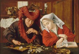 Marinus Claeszoon van Reymerswaele (c.1490–c.1546) The moneychanger and his wife (1539), Museo del Prado, Madrid