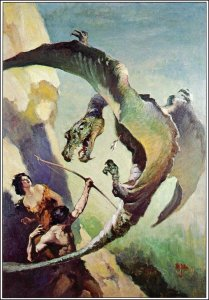 J. Allen St. John, original painting for the front cover of At the Earth's Core, by Edgar Rice Burroughs, 1922