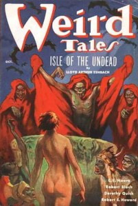 Cover to Weird Tales magazine, October 1936. St. John not only painted the art, he also designed the magazine's classic logo.