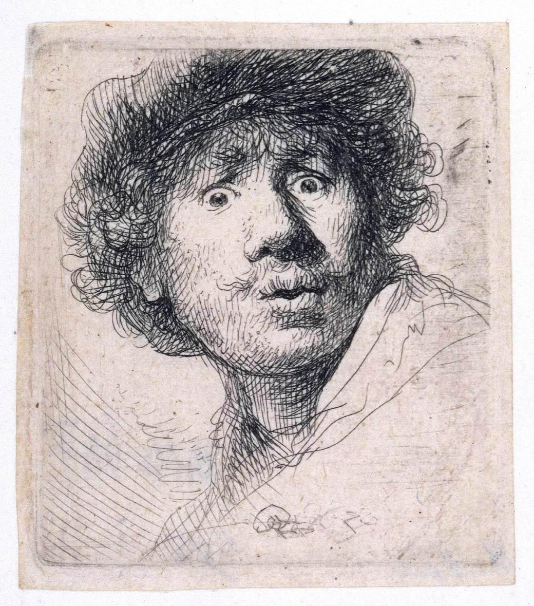Portrait - Drawing - Rembrandt self-portrait, surprised